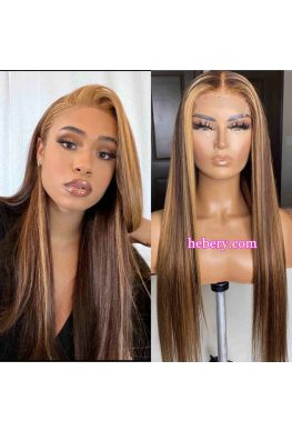 Honey Blonde Highlight Color Silk Straight 5x5 HD Lace Closure wig Pre plucked--hd501