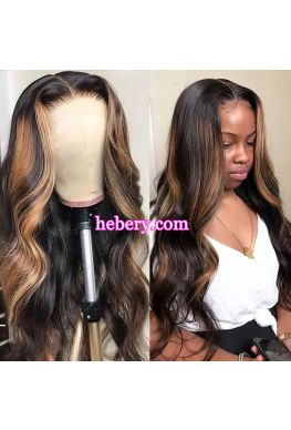 Honey Blonde Highlights Wig 5x5 HD Lace Closure wig Pre plucked hairline--hd512