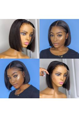 middle parting bob 13x6 wig Pre plucked Glueless Lace front Brazilian virgin human hair--hb985