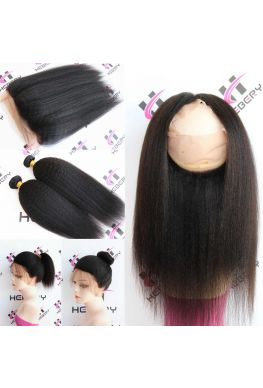 Italian yaki 360 lace frontal with 2 wefts Brazilian Virgin human hair--hfw02