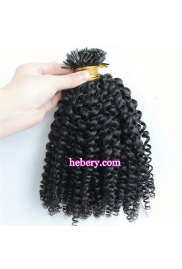 10A microlink i Tips hair extension kinky curl Brazilian virgin human hair--htp06