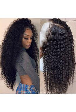 370 wig Kinky curl pre plucked Brazilian virgin human hair--hb376