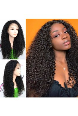 Kinky curly pre plucked 360 wig unprocessed brazilian virgin bleached knots baby hair--hb014