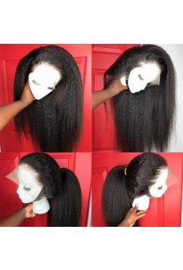 Kinky straight 360 wig pre plucked brazilian virgin human hair--hb009