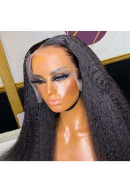 HD Lace Kinky straight 13x6 wig Glueless lace front 10A Brazilian virgin Pre plucked--hd525