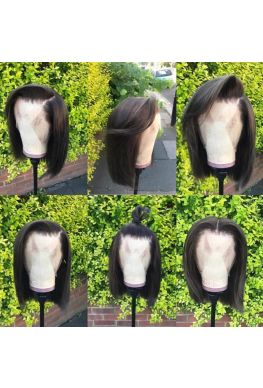 Pre plucked bob 6 inches parting Glueless Lace front wig 150% density Brazilian virgin human hair--hb696