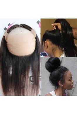 Light yaki 360 lace frontal Brazilian Virgin human hair--hh03