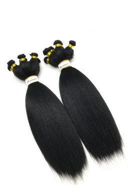 Brazilian Virgin light yaki Hair Hand tied Weave 3 Bundles--hhw01