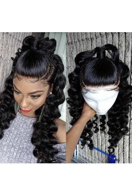 Pre plucked loose wave 360 wig brazilian virgin human hair--hb224