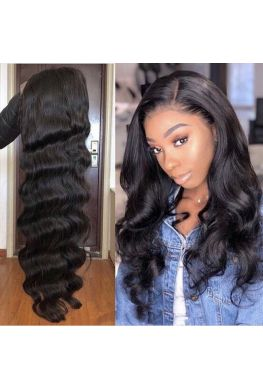 370 wig Body wave pre plucked Brazilian virgin human hair--hb374