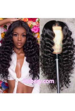 370 wig Middle parting Natural wave pre plucked Brazilian virgin human hair--hb375