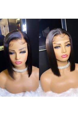 Deep parting bob 13x6 wig Pre plucked Glueless Lace front 150% density Brazilian virgin human hair--hb758