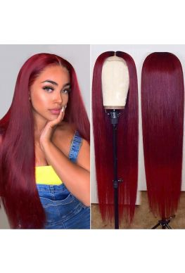 Ombre wine red pre-plucked 360 wig Brazilian virgin human hair--hb346