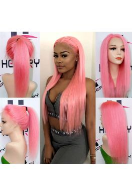 Pink color Glueless Lace front wig--hb902
