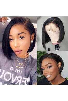 Pre plucked pixie bob Glueless Lace front 150% density Brazilian virgin human hair--hb636