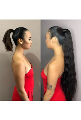 Brazilian Virgin ponytail extention wrap, combs in--hp001