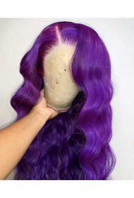 Purple wig Pre plucked Full lace wig Brazilian virgin human hair--hb722
