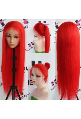 Red color silky straight Glueless Lace front wig--hb903