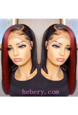 Red hightlights bob 13x6 wig side parting Pre plucked Glueless Lace front 150% density Brazilian virgin human hair--hb945
