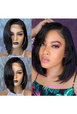 Pre plucked Sexy Cut Bob Lace Front Wig Brazilian virgin human hair--hb623