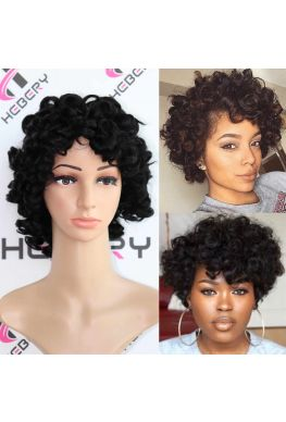 Short curly hair for summer no lace machine made Indian virgin human hair wig--hb667