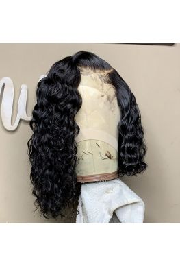 Side parting Curly Bob 360 lace wig unprocessed Brazilian virgin bleached knots baby hair--hb415