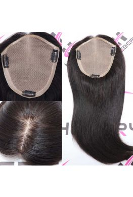 6.5 inches by 7 inches Silk base silicone around combs human topper hair pieces--tpp06