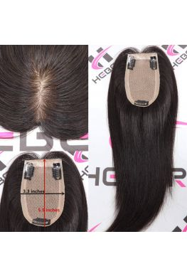 Silk base scalp around Silicone u shaped silk human hair topper--tpp03