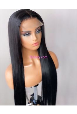 5x5 HD Lace Closure wig undetectable skin melt Glueless wig Silky Straight 10A Brazilian virgin Pre plucked--hd551