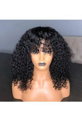 Pre plucked soft curly 360 wig Brazilian virgin bleached knots--hb686