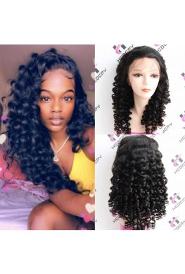 Pre plucked Spanish wave 360  wig Brazilian virgin human hair--hb325
