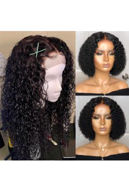 Spiral curly 4x4 Lace closure wig Indian virgin human hair--hb474