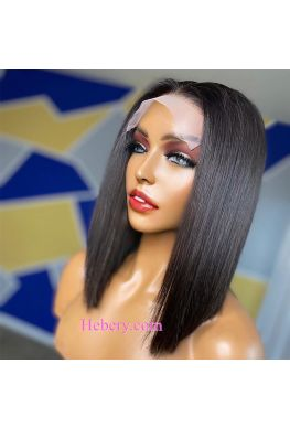 5x5 HD Lace Closure wig undetectable skin melt Glueless wig straight bob 10A Brazilian virgin human hair Pre plucked--hd555