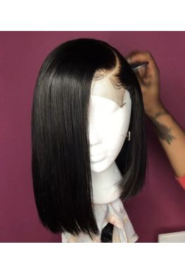 Pre plucked straight bob 13x6 wig Glueless Lace front 150% density Brazilian virgin human hair bleached knots--hb678