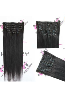 Silky straight clips in hair extensions Brazilian virgin human hair--hc07