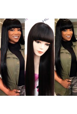 silky straight full lace wig with bangs Indian virgin human hair--hb170