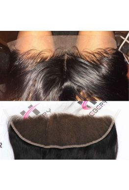 13x4 lace frontal Brazilian Virgin Silky Straight bleached knots--hf01