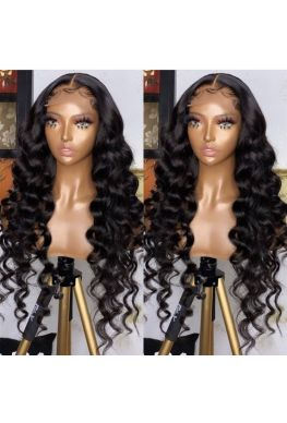 5x5 HD Lace Closure wig undetectable skin melt Glueless wig Natural looking wave 10A Brazilian virgin human hair Pre plucked--hd552