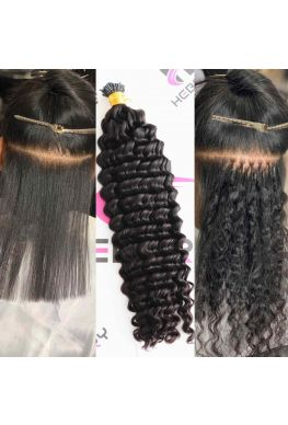 10A microlink i Tips hair extension deep wave Brazilian virgin human hair--htp02
