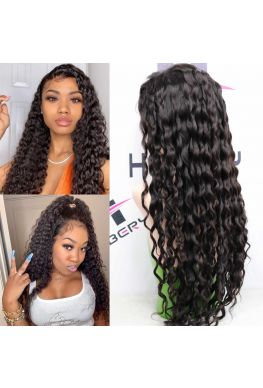 water wave pre plucked 360 wig brazilian human hair--hb064