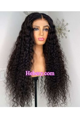 5x5 HD Lace Closure wig Water Wave undetectable skin melt Glueless wig 10A Brazilian virgin human hair Pre plucked--hd575