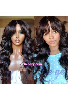 Brazilian Virgin Loose Wave 5*5 HD Lace Closure Wig with Bangs--hd595