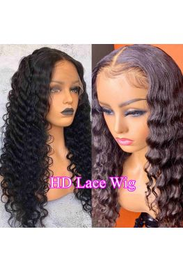 HD Lace Deep Wave 13x6 wig Glueless lace front 10A Brazilian virgin Pre plucked--hd222
